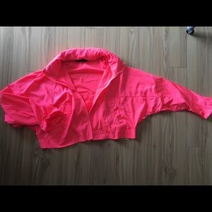 Zara neon pink cropped windbreaker